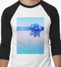 Blue Present Bow Men's Baseball ¾ T-Shirt