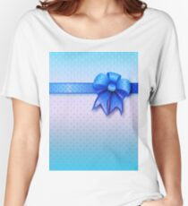 Blue Present Bow Women's Relaxed Fit T-Shirt