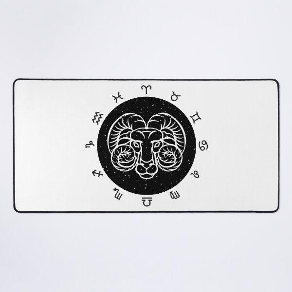 Aries zodiac black and white design Desk Mat