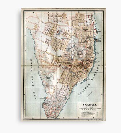 Vintage Map of Halifax Nova Scotia (1890)  Canvas Print