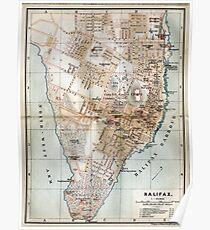 Vintage Map of Halifax Nova Scotia (1890)  Poster