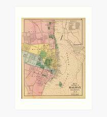 Vintage Map of Halifax Nova Scotia (1878) Art Print