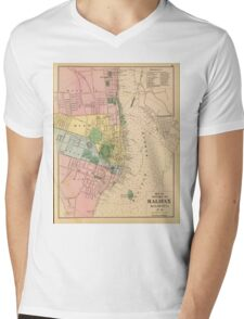 Vintage Map of Halifax Nova Scotia (1878) Mens V-Neck T-Shirt