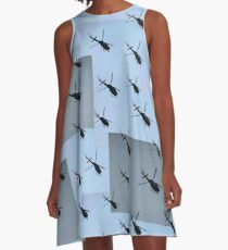 Helifly blue grey - Helimosca azul gris A-Line Dress