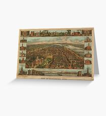Vintage Pictorial Map of Harrisburg PA (1855) Greeting Card
