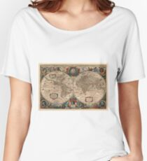 Vintage Map of The World (1641)  Women's Relaxed Fit T-Shirt