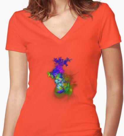 Vase of flowers #fractals Women's Fitted V-Neck T-Shirt
