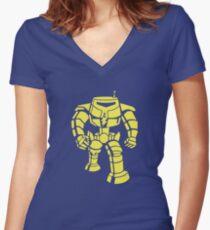 Manbot - Plain Blue Colour Variant Women's Fitted V-Neck T-Shirt