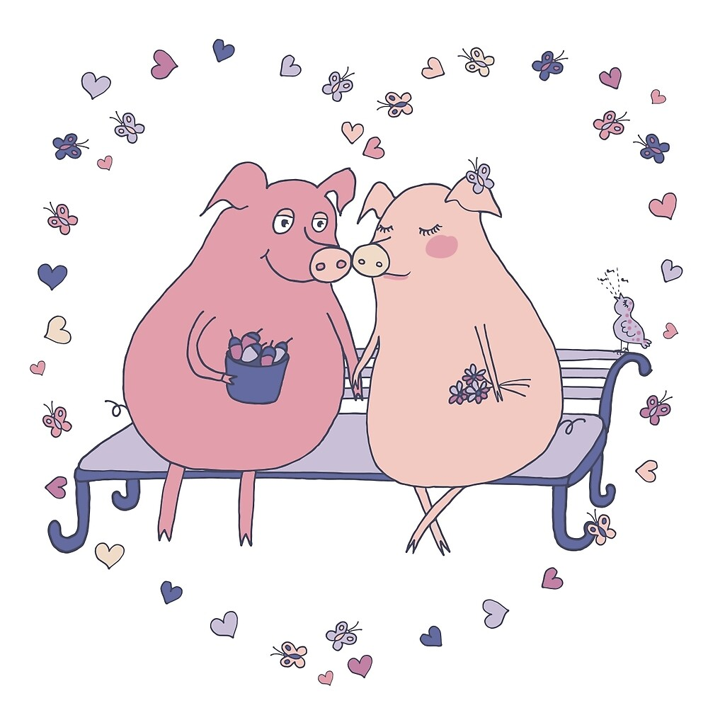 Couple of cute pigs sitting on a bench by MayyaIva