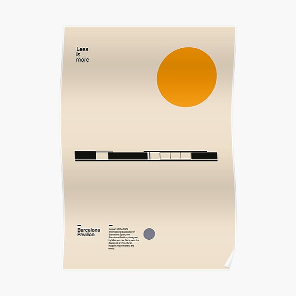 Barcelona Pavilion, Ludwig Mies van der Rohe, Minimal Architecture Bauhaus Design Poster