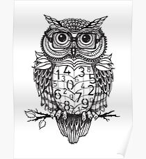 Owl sketch with numbers, glasses Poster