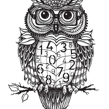 Owl sketch with numbers, glasses by stylecomfy