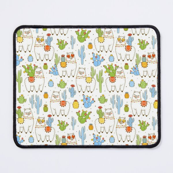 Cute lamas and cactuses Mouse Pad