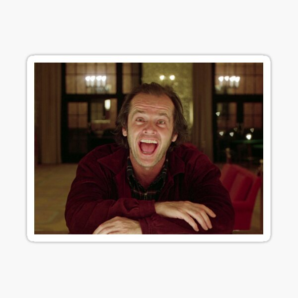 Jack Nicholson The Shining Still - Stanley Kubrick Movie Sticker