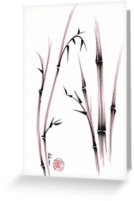 Tenderness  -  Sumie dry brush pen bamboo painting by Rebecca Rees