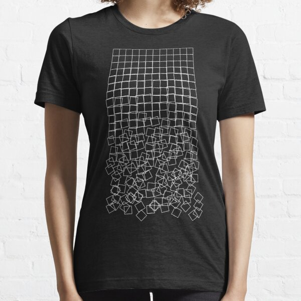 Decaying Squares (Schotter) (White on Dark Shirt) Essential T-Shirt