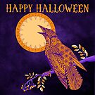 Halloween Crow and Moon by Tammy Wetzel