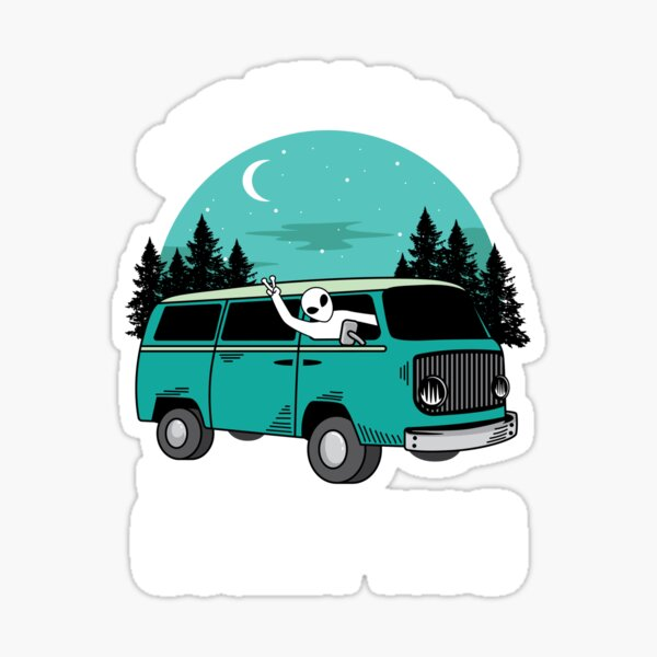 Get In Loser We're Going Camping Funny Alien Abduction Space Sticker
