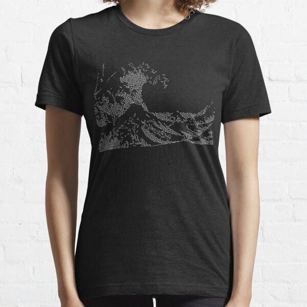Great Wave of Triangles off Kanagawa (White on Dark Shirt) Essential T-Shirt