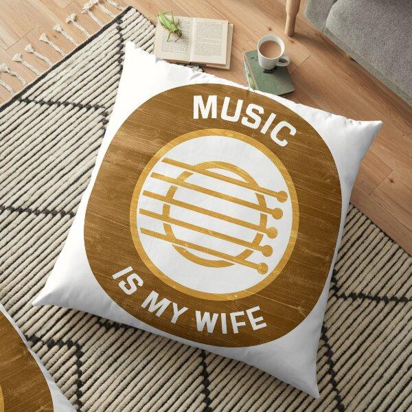Music Is My Wife Floor Pillow