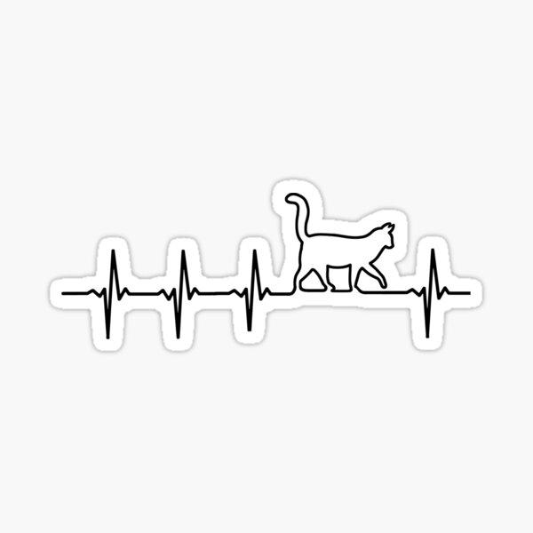CAT Heartbeat EKG Shirt I Love My Kitty Sticker
