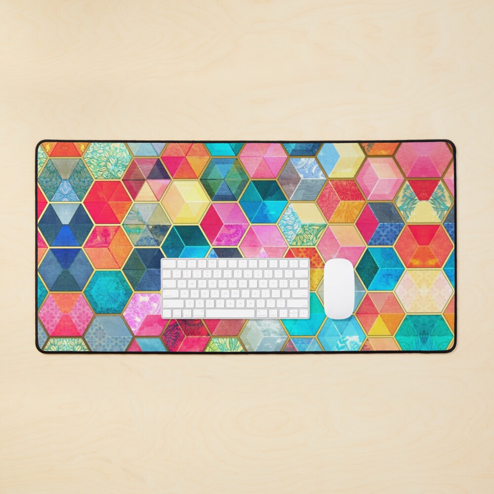 Crystal Bohemian Honeycomb Cubes - colorful hexagon pattern Mouse Pad