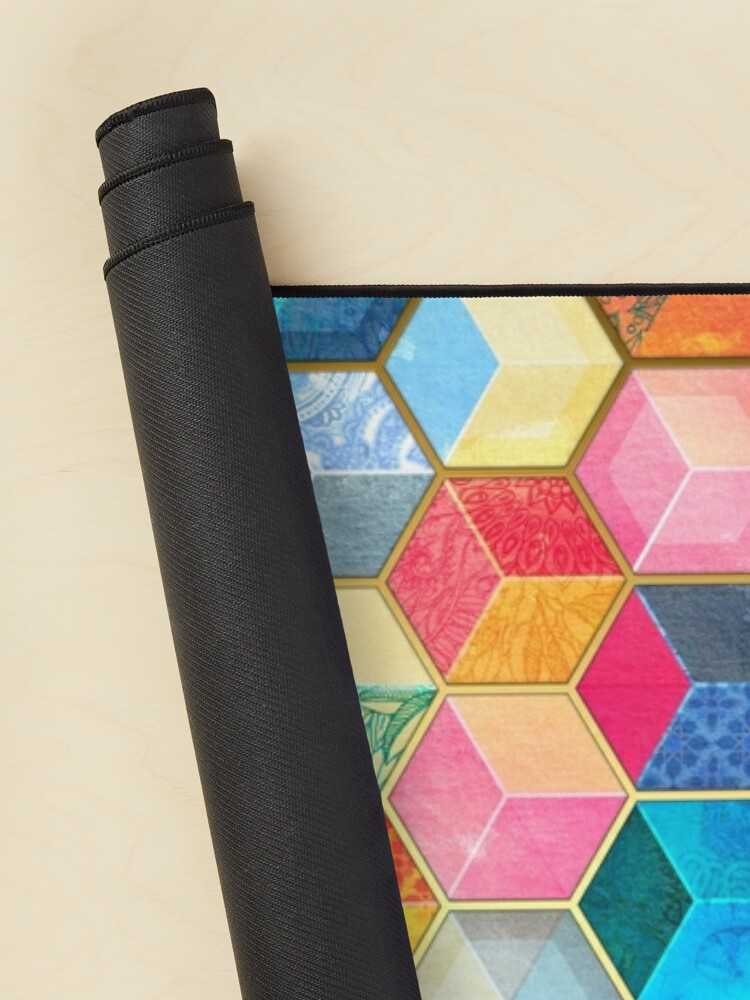 Alternate view of Crystal Bohemian Honeycomb Cubes - colorful hexagon pattern Mouse Pad