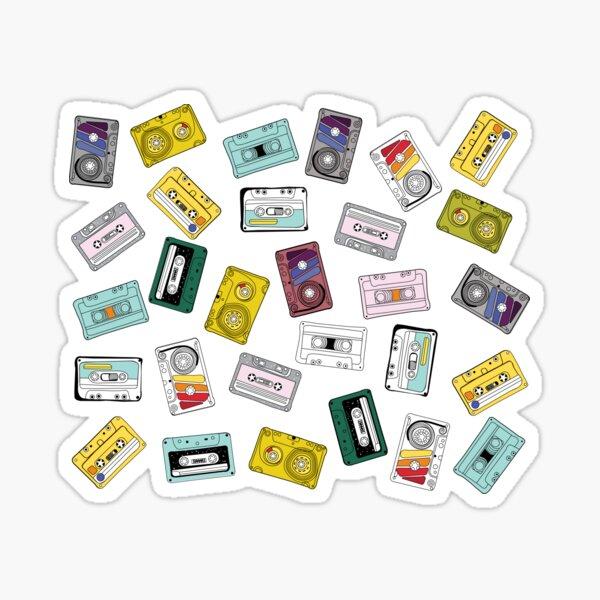Pattern colorful vintage cassette tape set Sticker