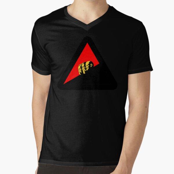 VORSICHT LINKSRUTSCH WARNSCHILD (Farbvariante) // #linksrutsch // Funny Sign Design T-Shirt mit V-Ausschnitt