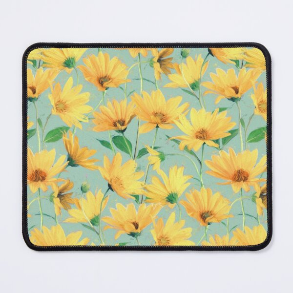 Painted Golden Yellow Daisies on soft sage green Mouse Pad