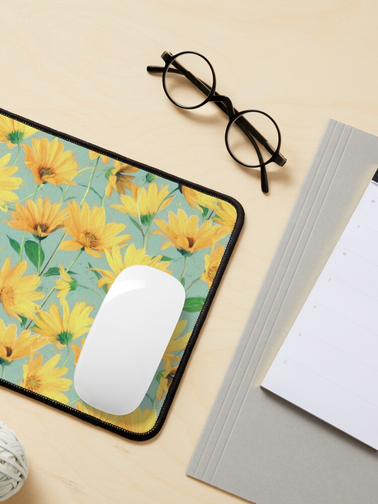 Alternate view of Painted Golden Yellow Daisies on soft sage green Mouse Pad