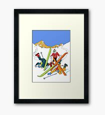 Skiing mishap Framed Print