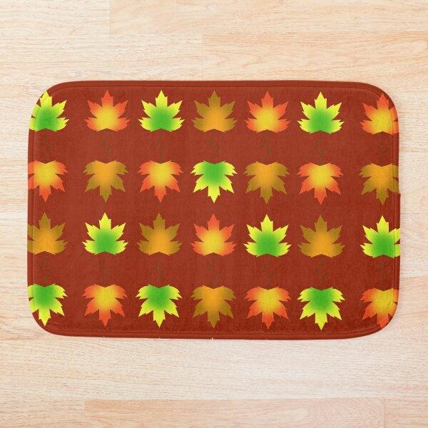 Autumn Leaves Grid Bath Mat
