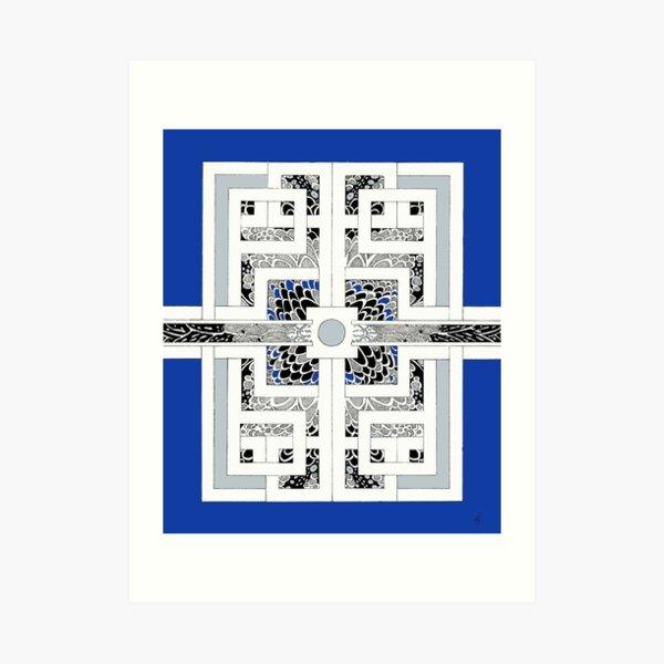 The other way around in royal blue Kunstdruck