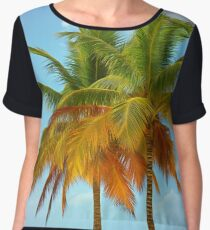 Palm trees on the bank of azure ocean Chiffon Top