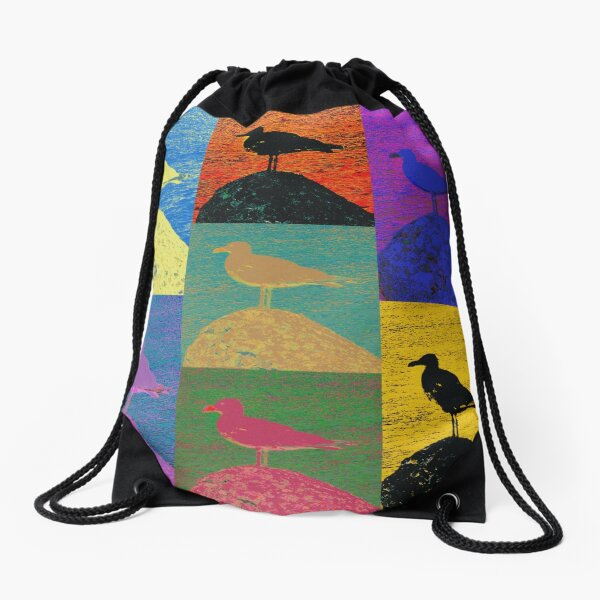 Pop art colourful seagull design Drawstring Bag