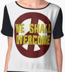 we shall overcome hippie hippies jimi hendrix bob dylan jim morrison joan baez janis joplin song lyrics peace sign love t-shirts Women's Chiffon Top