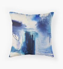 Abstract Blue Painting Throw Pillow