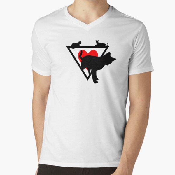 KATZEN SILHOUETTEN DREIECK HERZ // Cute Cats Design T-Shirt mit V-Ausschnitt