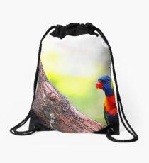 Rainbow Lorikeet On Peppercorn Tree Branch Drawstring Bag