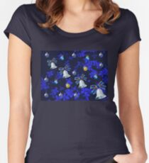 Four Bells Christmas Card in Blue Women's Fitted Scoop T-Shirt