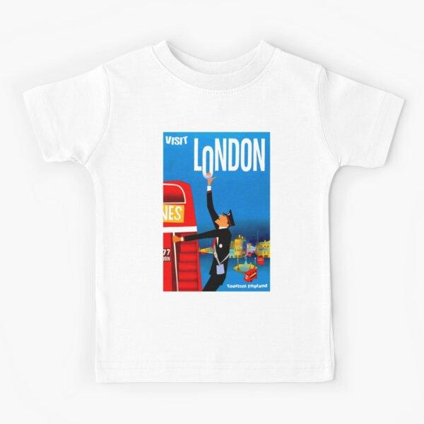"""""""VISIT LONDON"""" Vintage Travel Advertising Print Kids T-Shirt"""