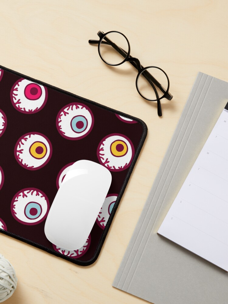 Alternate view of Halloween Candy Eyeball Pattern in Black Mouse Pad