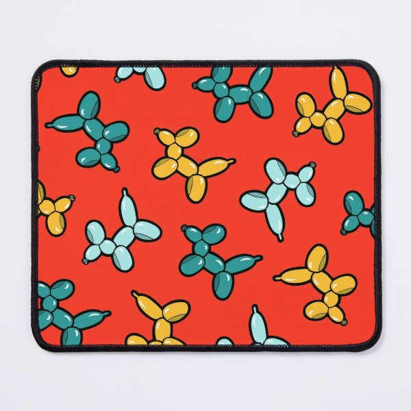 Balloon Animal Dogs Pattern in Red Mouse Pad