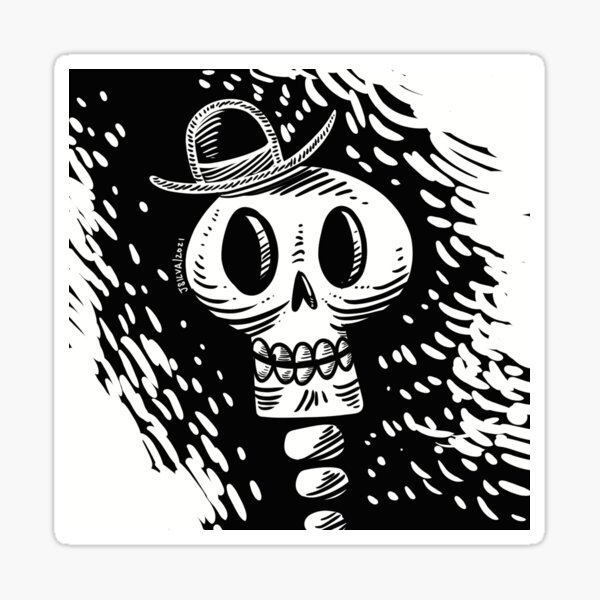 Skull with hat Pegatina
