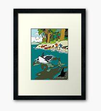 Orcas on a beach Framed Print