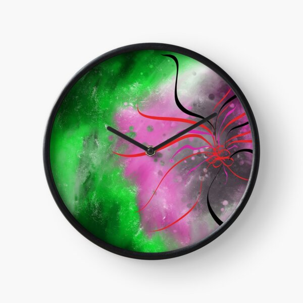 Modern Abstract Painting in Pink and Green  Clock