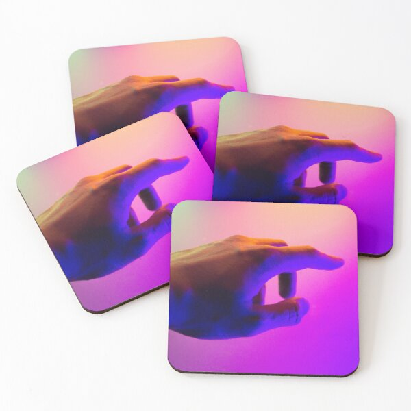 Glowing hand in front of colorful tones Coasters (Set of 4)