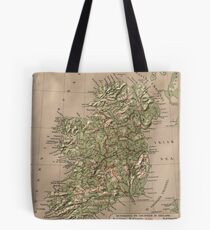 Vintage Physical Map of Ireland (1880) Tote Bag