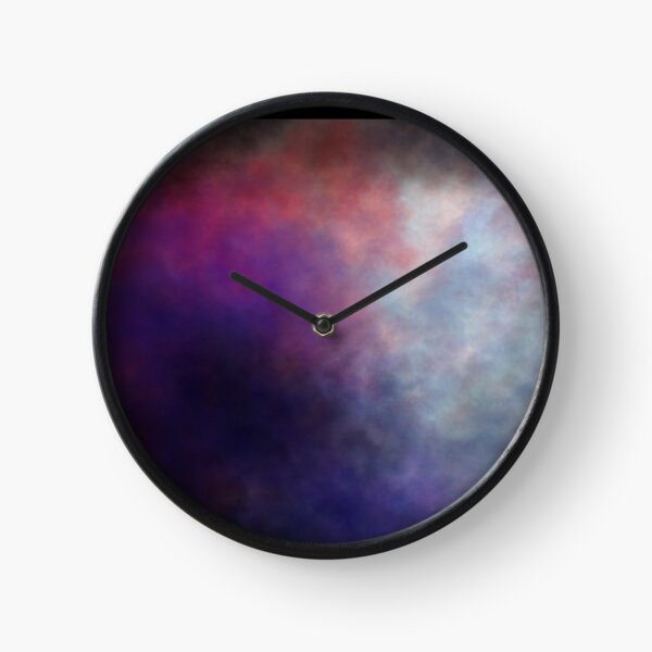 Dark Smoky Abstract Painting in Purple, Red and Black Clock